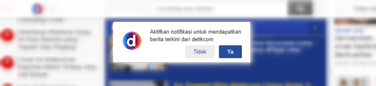 Web Push Notificatin di Website Detik