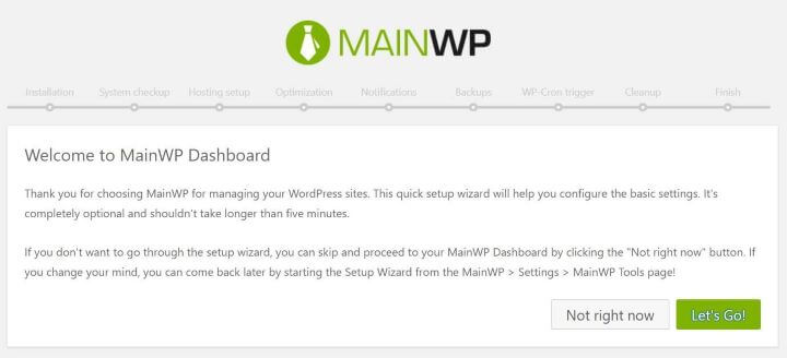 Setup MainWP Dashboard